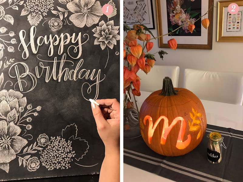 Valerie McKeehan's week included chalk lettering and pumpkin carving.