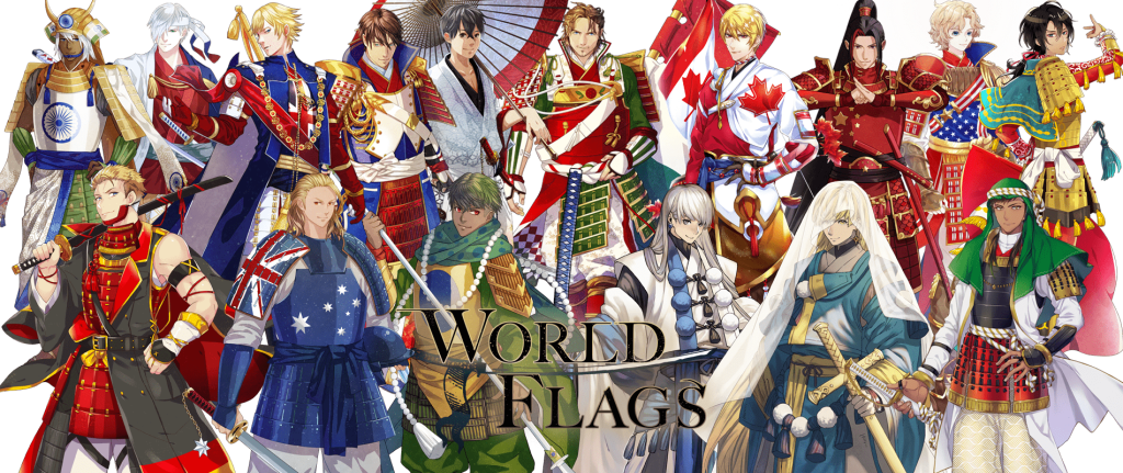 world flags anime character