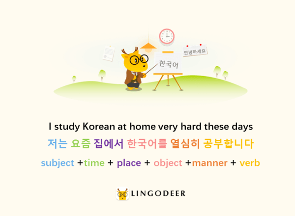 korean sentence structure: 저는 요즘 집에서 한국어를 열심히 공부합니다.