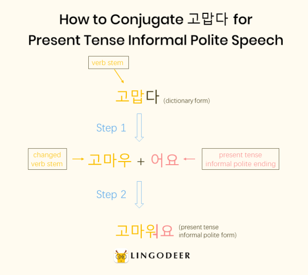 how to say thank you in korean: how to conjugate 고맙다