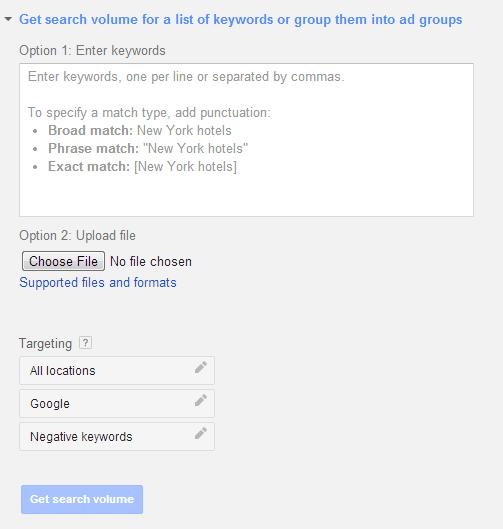 Google Keyword Planner - get search volume