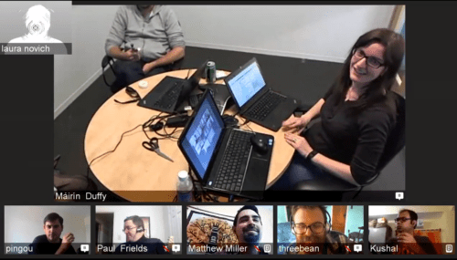 Screenshot of video chat discussion