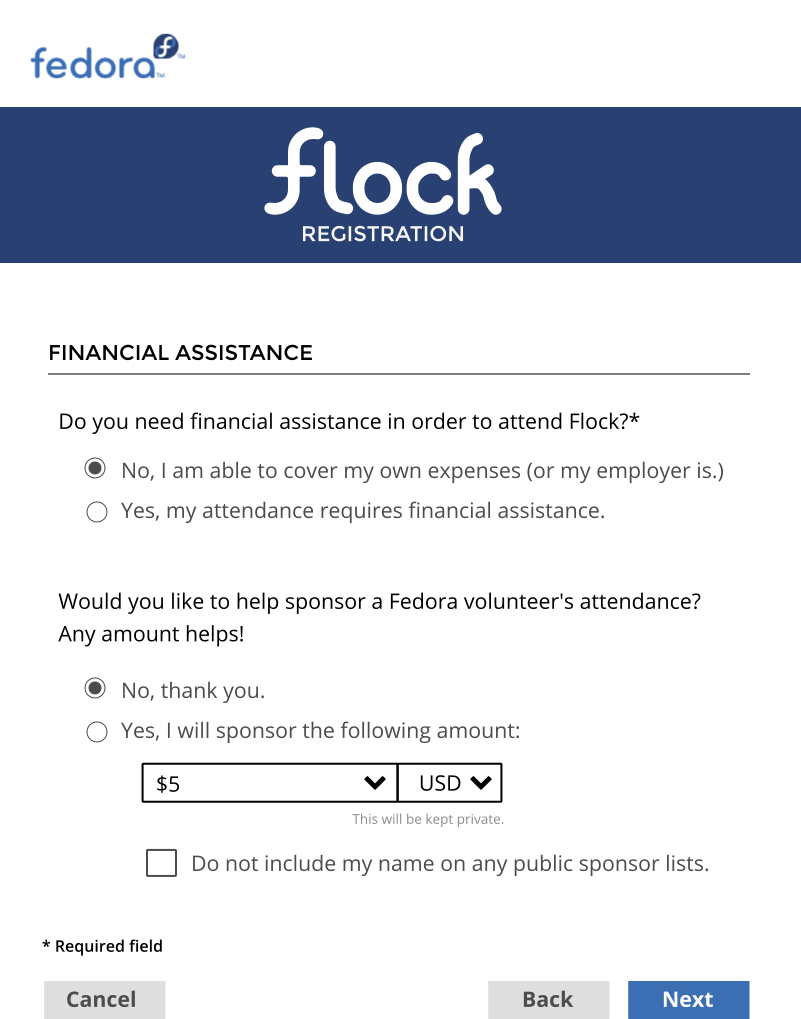 Flock Cod Registration Form Design