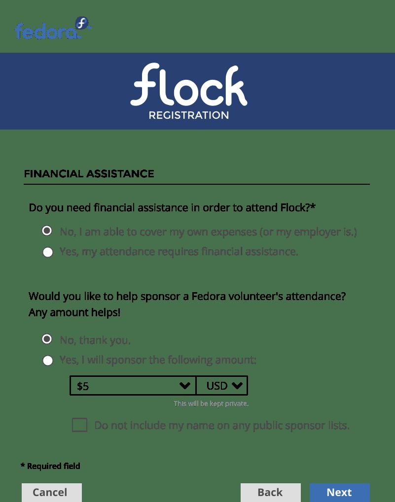 Flock Cod Registration Form Design