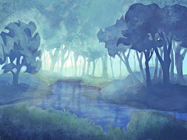 digital painting watercolor style of a layered forest around a lake with sunlight streaming from the back thru the trees