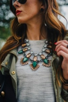 Colorful Statement Necklaces and grey t-shirt.