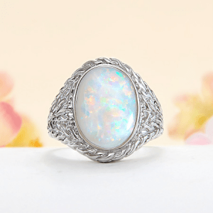 Rare and Exotic Gemstones - Australian White Opal - Opal Ring 2