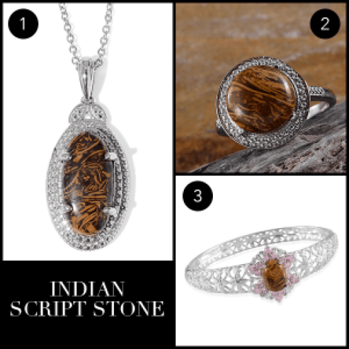 Rare and Exotic Gemstones - Indian Script Stone Collage
