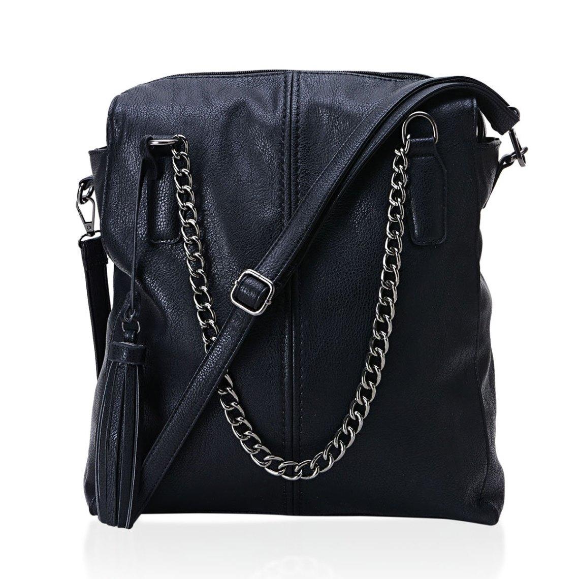 J Francis - Black Faux Leather Shoulder Bag