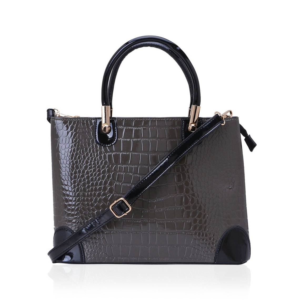 J Francis - Gray Crocodile Embossed Faux Leather Tote Bag