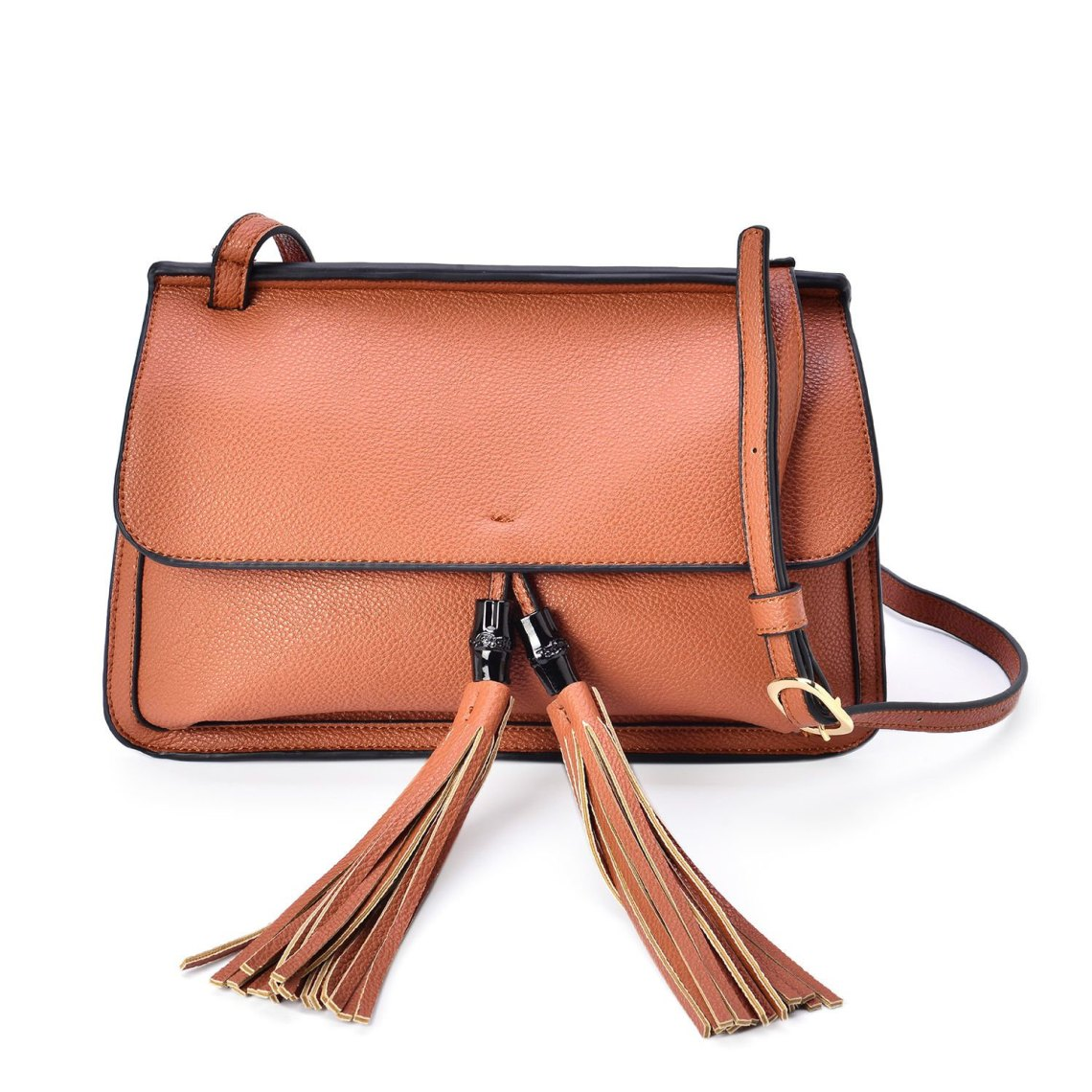 J Francis - Tobacco Faux Leather Crossbody Bag with Tassel