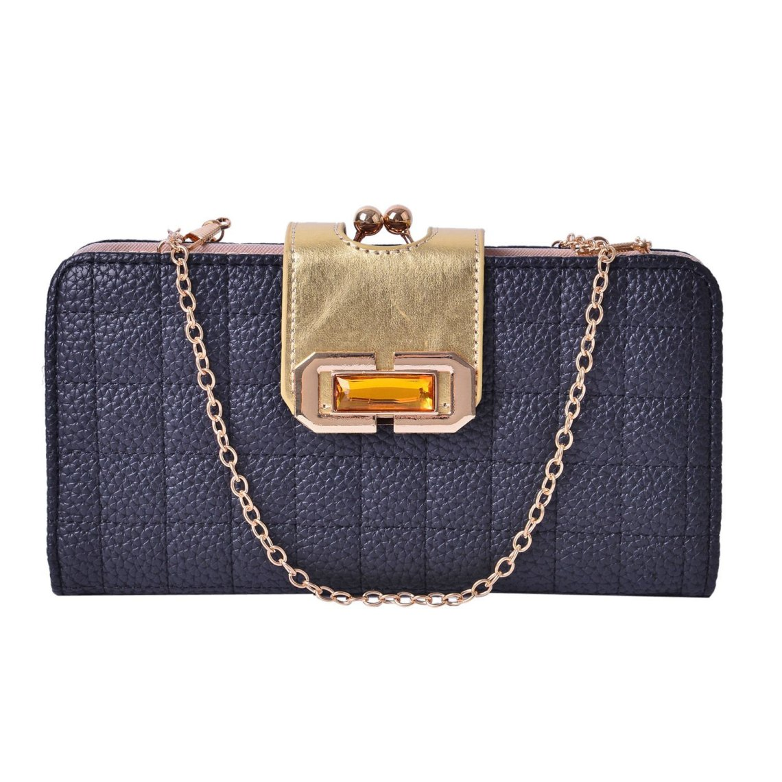 J Francis - Brown Glass, Black Faux Leather Quilted Clutch