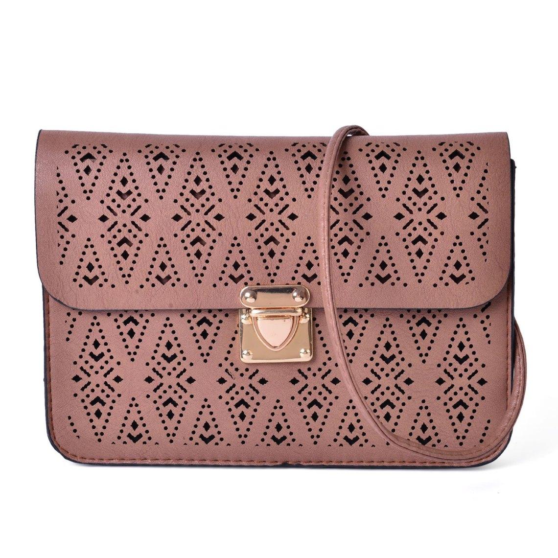 J Francis - Camel Faux Leather Crossbody Bag