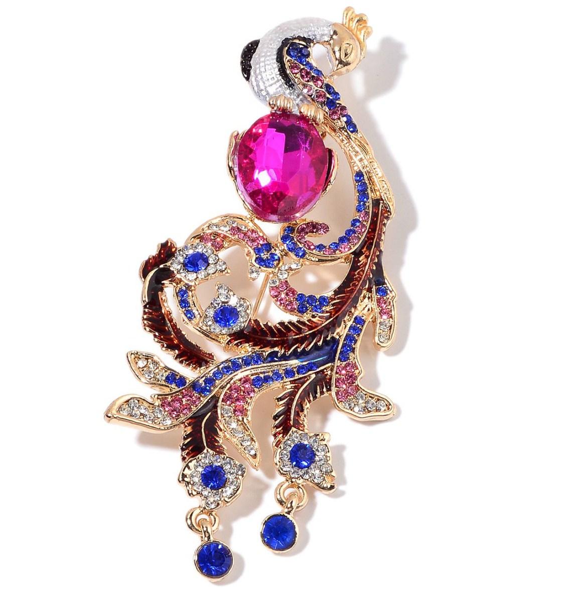 Fashion Week Roundup Jewelry - Austrian Crystal Peacock Brooch