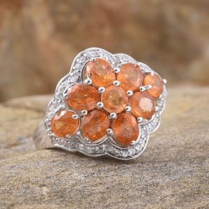 Hessonite garnet ring, January birthstone.