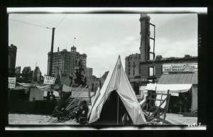 The beginning of a tent city for survival. San Fransico 1906. Photographed by Jack or Charmian London