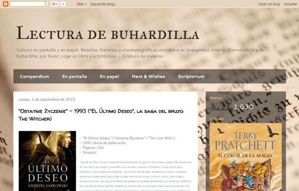 Blogs literarios: Lectura de buhardilla
