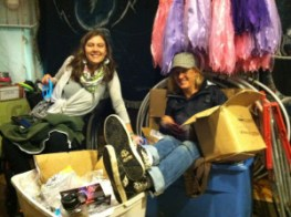Laurie and Taylor in the adapted Little Hippie booth at Gathering of the Vibes 2012