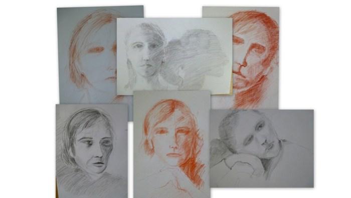 Bleistift und Rötel Portraits