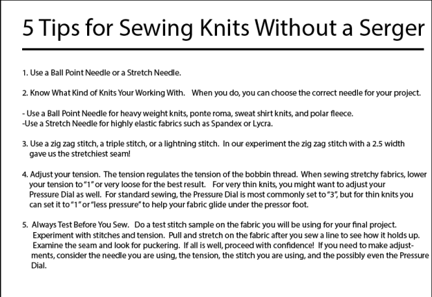 5 tips for sewing with knits