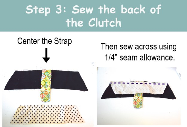Sew the back of the clutch