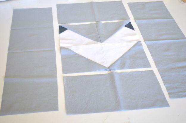 assembling the chevron quilt block
