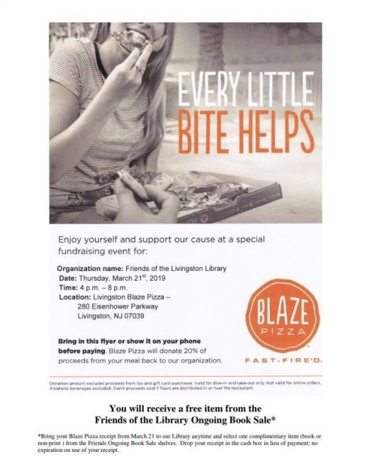 blaze pizza donation day flyer March 21 4-8pm