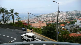 halfway up the epic trip through old funchal to the botanical gardens