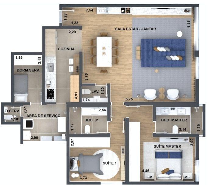 planta-baixa-de-apartamento-planta-humanizada-loft