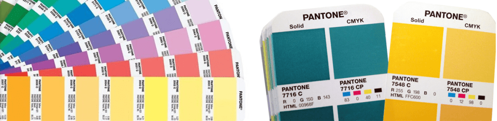 PMS Pantone Color Charts Showing color differences for dye sublimation printing.