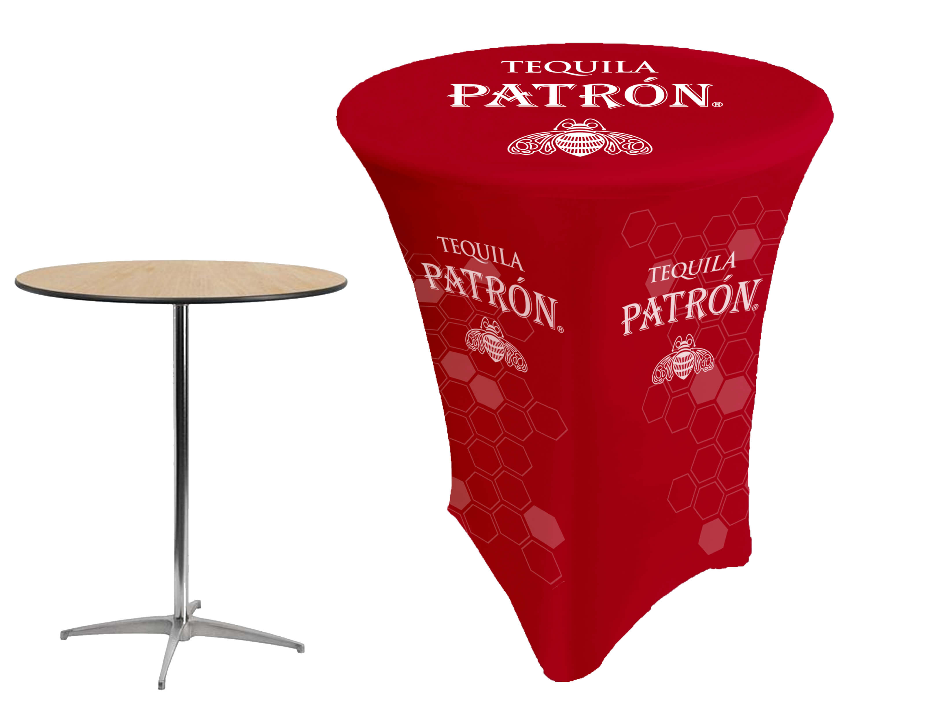 194 & Custom Stretch Printed Cocktail Table Covers | High Top High Boy