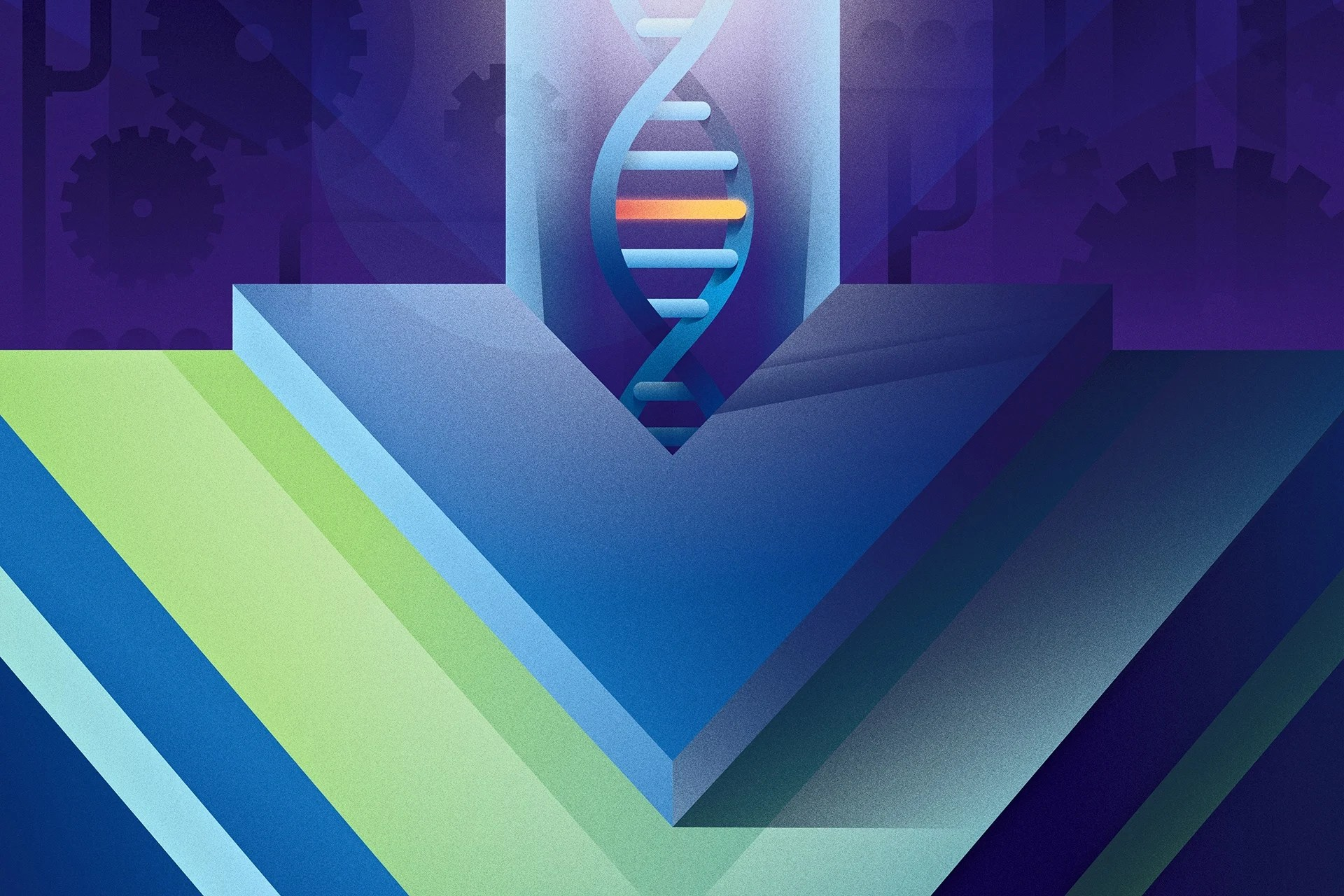 Vue Logo With DNA Strand Mutation