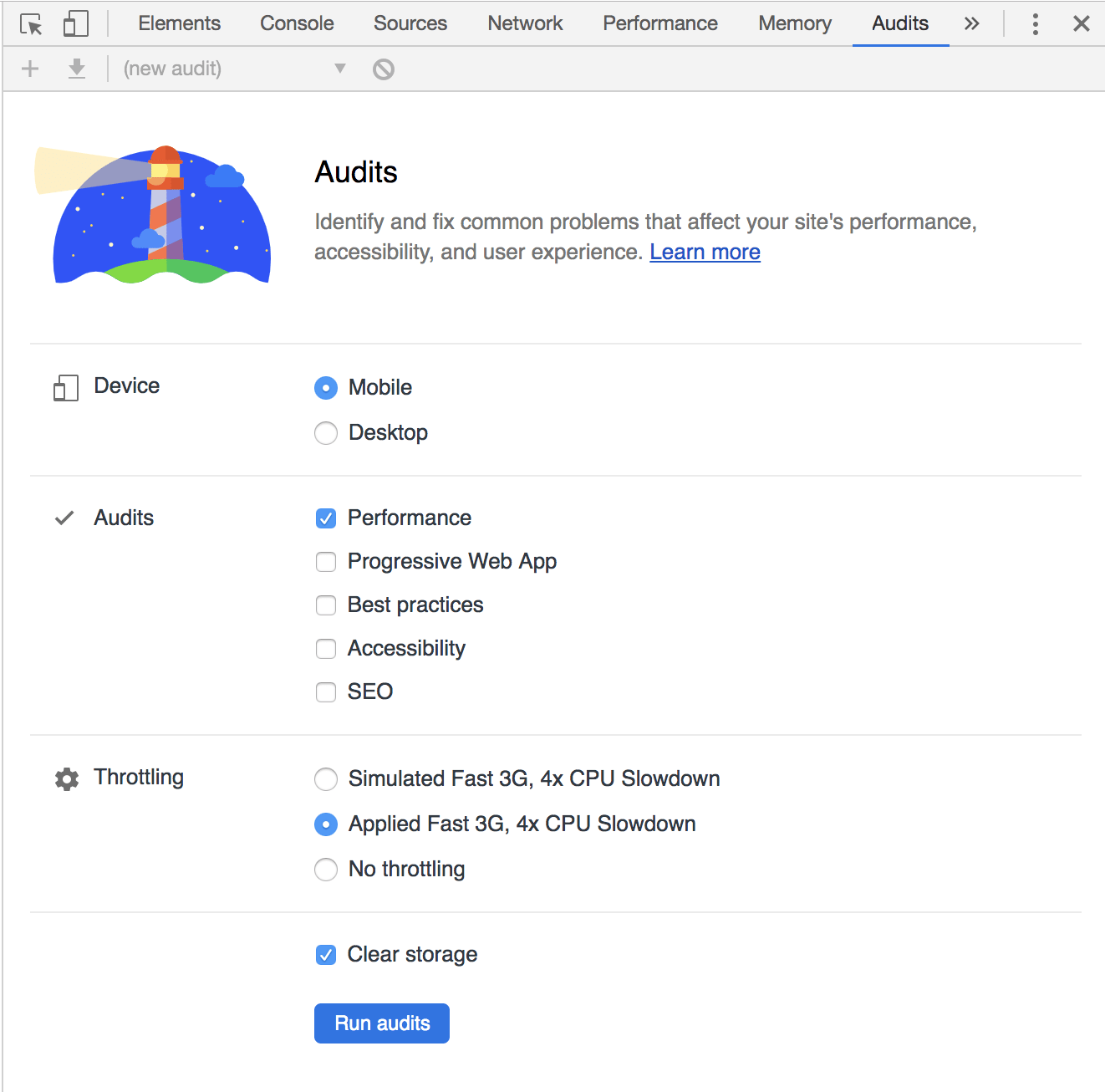 Audits Tab Contents In Chrome DevTools