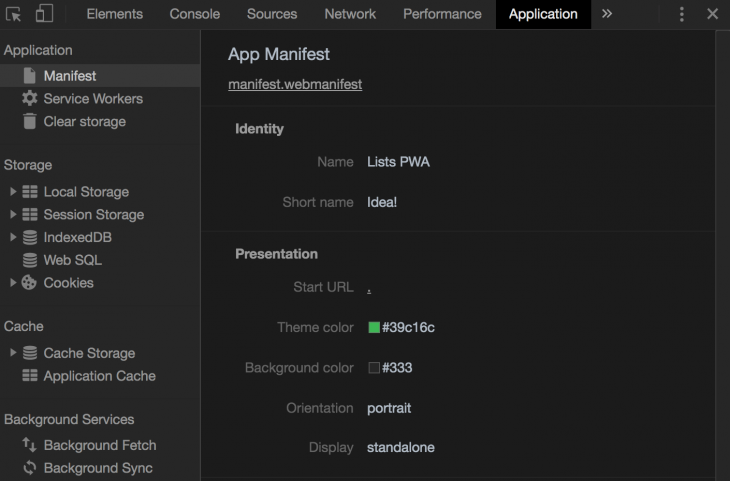 App Manifest Page In Chrome DevTools