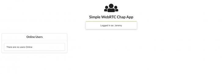 A simple WebRTC chat app indicating there are no users online