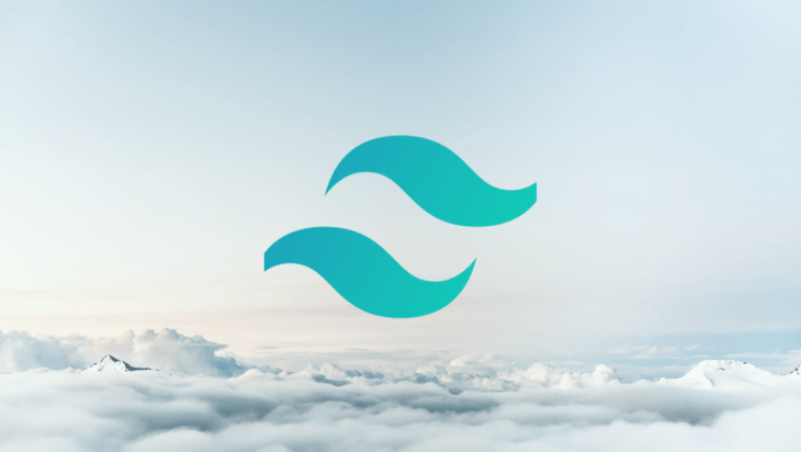 An image of the Tailwind CSS logo over a backdrop of the sky.