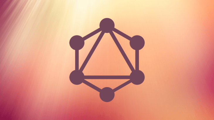 An image of the React logo against an orange and pink background.