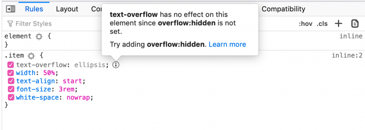 Example of an inactive text-overflow property used without overflow:hidden