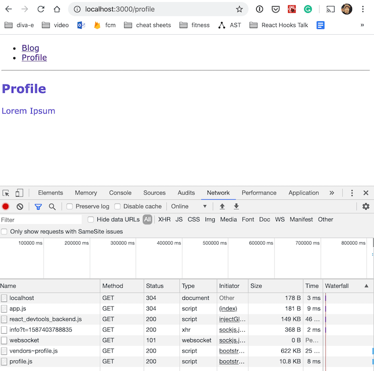Examining The Development Build For The Profile Route In DevTools