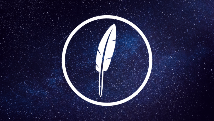 Feather JS logo against a space background.