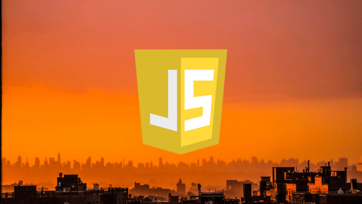 JavaScript logo against an orange sky.