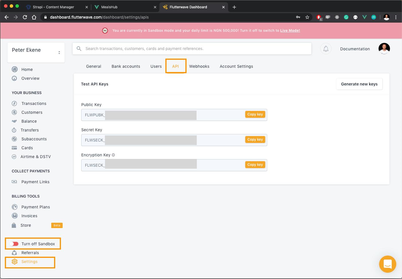 Flutterwave API key