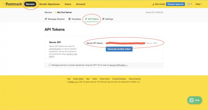 postmark servers api tokens