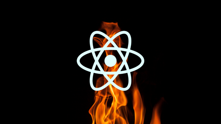 React logo against a fire background.