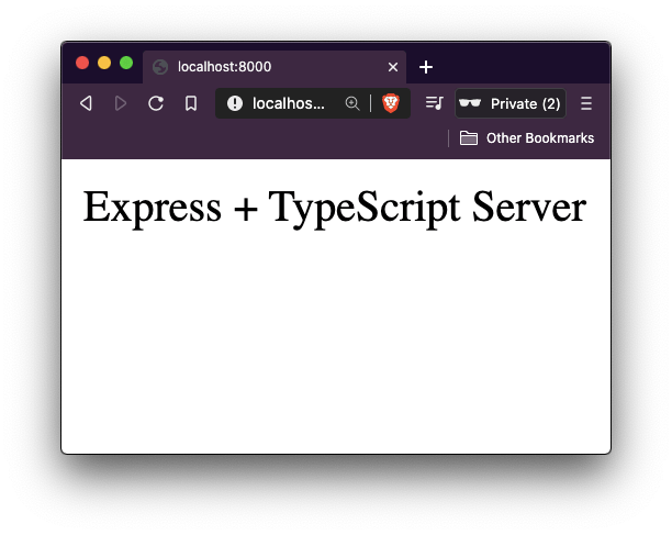 localhost displaying Express + TypeScript server