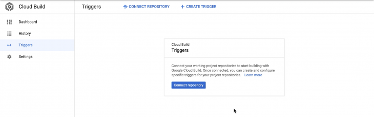 Cloud run dashboard with the 'triggers' tab selected