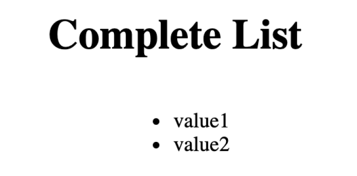 A complete list in HTML with two values.