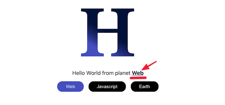 Highlighting The HelloUI Planet Text