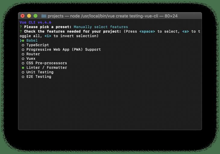 list including babel, typescript, progressive web app support, router, vuex, css preprocessors, linter/ formatter, unit testing, e2e testing