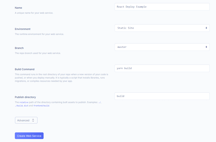 Web Service Details in Render